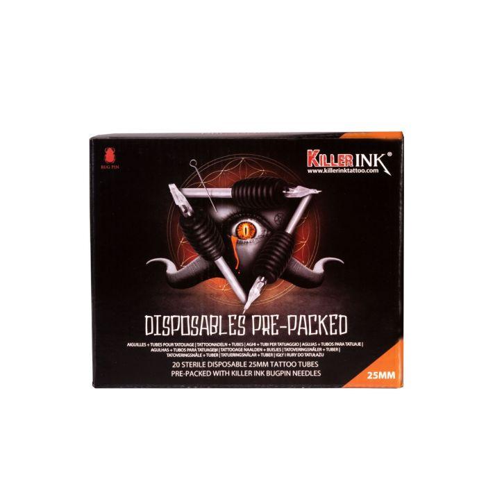 20 St. Killer Ink Einweggriff/-Spitze 25mm, vorverpackt mit Bug Pin 0,25MM Tattoonadeln – gemischte Größen/Arten