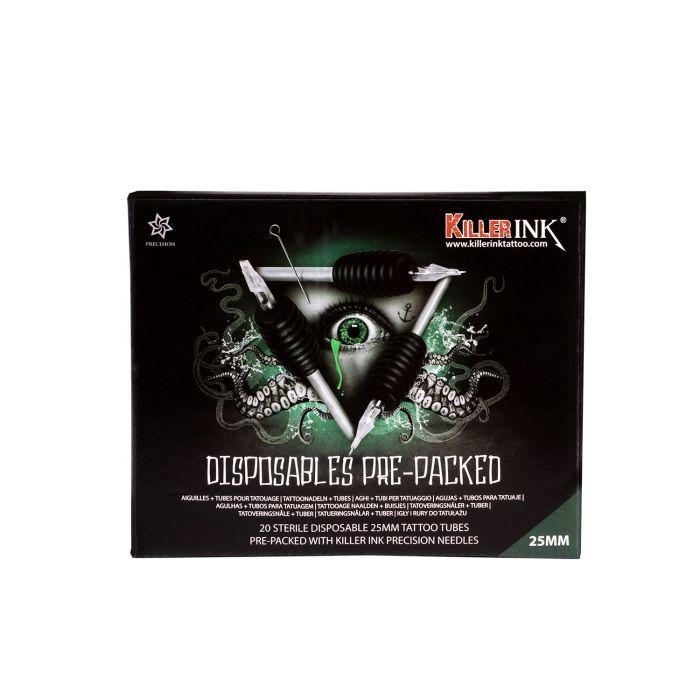 20 St. Killer ink Einweggriff/-Spitze 25mm, vorverpackt mit Killer Ink Precision 0,35MM Tattoonadeln – gemischte Größen/Arten