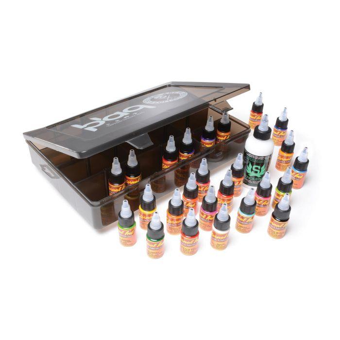 Eternal Ink Travel Kit - 25x 15ml (1/2oz) Tattoofarben + 1x 120ml (4oz) Stencil Stuff in einem Sullen Clothing Blaq Paq