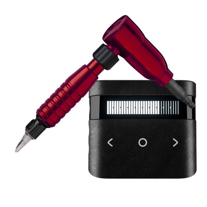Cheyenne Hawk Spirit Tattoomaschine (Antrieb) + Griffstück + Netzteil Bündel in Rot