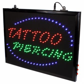 """""""Tattoo + Piercing"""" – LED-Schild zum Aufhängen, mit Kette"""
