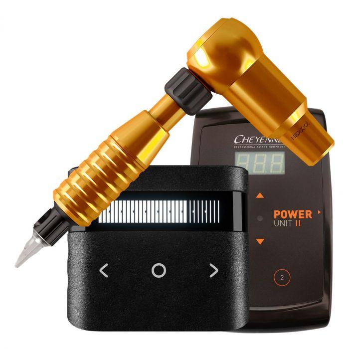 Cheyenne Hawk Thunder Tattoomaschine (Antrieb) + Griffstück + Netzteil Bündel in Orange